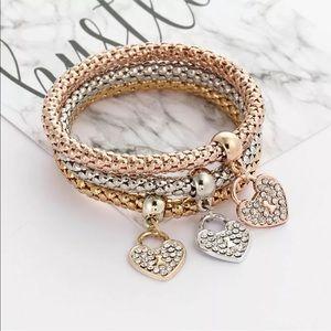 3Pcs Set Heart Rhinestone Bangle Bracelets